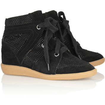 Isabel Marant | Boston snake-effect suede sneakers | NET-A-PORTER.COM