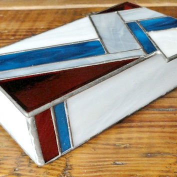 Vintage Stained Glass Box, for Jewelry, Trinkets, Memories, Keepsakes
