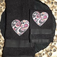 Valentines Heart Black Embroidered Hand Towel and Wash Cloth
