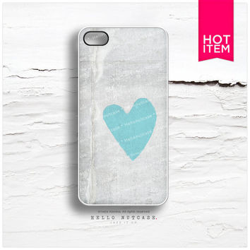 iPhone 4 and iPhone 4S case Concrete Teal Heart T7