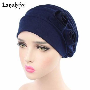 2017 Women Muslim Stretch Beanie Turban Hat Solid Cotton Chemo Cap Hair Loss Head Scarf Wrap Hijib Cap 7 Colors