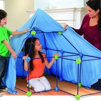 Fort Set 77 Piece Kit Build And Play Construction Playhouse Castle Fortress Tent