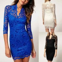 New Retro Women's Fashion 3/4 Sleeves Sexy Lace V Neck Slim Fit Party Dress