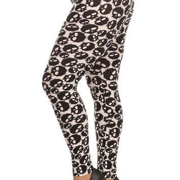 Women's Plus Black Skulls Pattern Print Leggings - White Black
