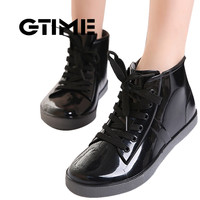 GTIME  Lace-Up Rain Boots Fashion Solid Ladies Flats Ankle Boots Casual Silver Women Boots Shoes Woman 4 Colors Size 35-40 #ZH3