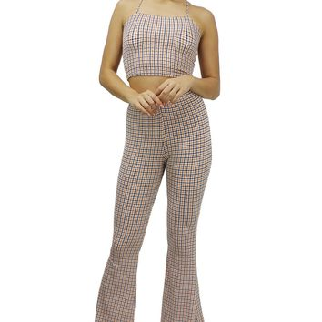 Houndstooth Spaghetti Strap Crop Top Elastic Waist Palazzo Pants Set