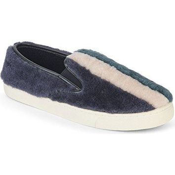 TORY BURCH Bamford Colour-Block Shearling Plimsolls Slip On Sneakers 5