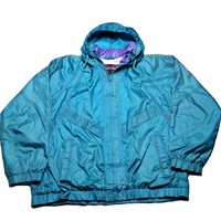 Vintage 90s Pacific Trail Teal Windbreaker Jacket Unisex Size Large