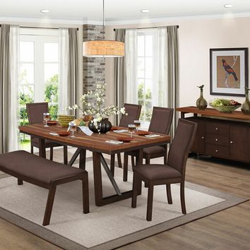 6 pc Compson collection grain walnut finish wood dining table set with trestle base