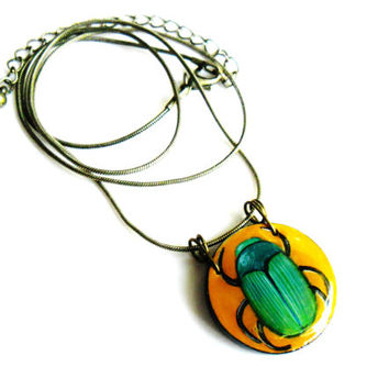 Egyptian Beetle Necklace Amulet  - Hand Painted Scarab Egyptian Jewelry - Ancient Egypt Beetles Pendant Wearable Art Egyptian Scarab