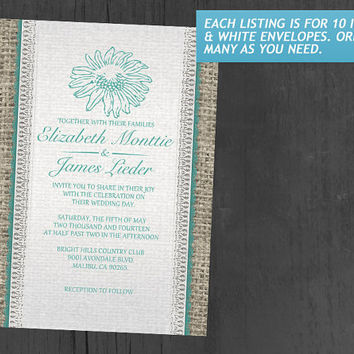 Aqua Vintage Lace Wedding Invitations | Invites | Invitation Cards