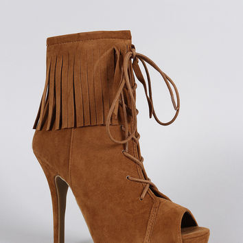 Anne Michelle Fringe Cuff Corset Laces Peep Toe Booties