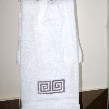 Greek Key towels, or Any of my designs in any colour embroidery and towel colour you may wish.PRICE STARTS 19.80 Cotton Towel 550gr