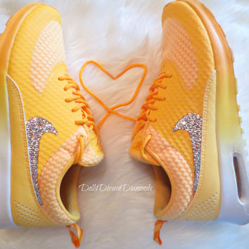 Nike Air Max Thea adorned with Swarovski Crystals -Orange/ White