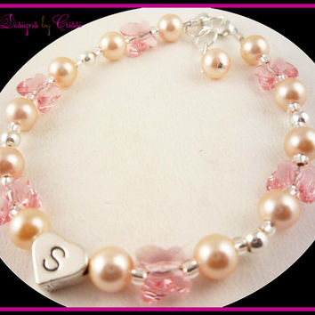 Girl Bracelet Personalized Initial Butterfly Crystal Pearl Personalized heart silver letter bead Baby Toddler choose your colors