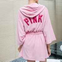 Vitoria's Secret Pink Towelling bathrobe nightgown and