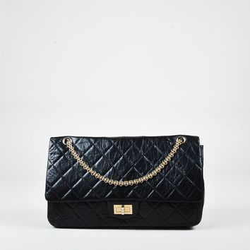 "Chanel Black Aged Leather Quilted Double Flap ""2.55 Reissue 228"" Bag"