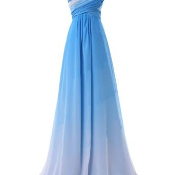 Tidetell Long Gradient Ramp Chiffon Bridesmaid Evening Prom Dresses Blue 2015