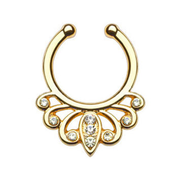 Filigree Clear Gems Faux Septum Hanger