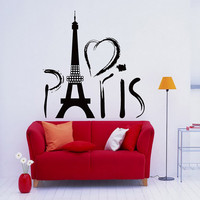 Paris Wall Decal Eiffel Tower Decals Vinyl Lettering- Love Paris Eiffel Tower Wall Art Girls Room Bedroom Living Room Dorm Home Decor 0041