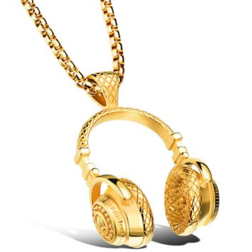 Music headphones pendants retro tide necklace couple models men and women personalized accessories gifts