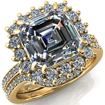 The Duchess Asscher Moissanite Diamond Cluster Halo Ring