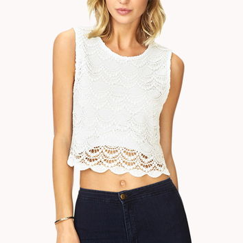 Scalloped-Hem Crochet Top