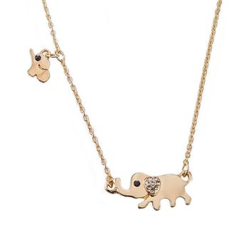 Elephant Necklace 18k Gold Plated Stainless Steel Elephant Mama Chasing Baby Animal Lucky Elephant Necklace Jewelry For Everyday Wear