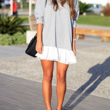 Casual Chic Dress Grey White Color Block Dress Perfect Outfit for City in Fall