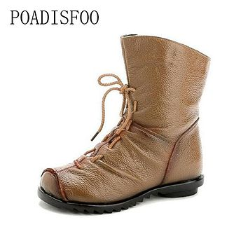 POADISFOO Vintage Style Genuine Leather Women Boots Flat Booties Soft Cowhide Women's Shoes Front Zip Ankle Boots .ZXW-1806