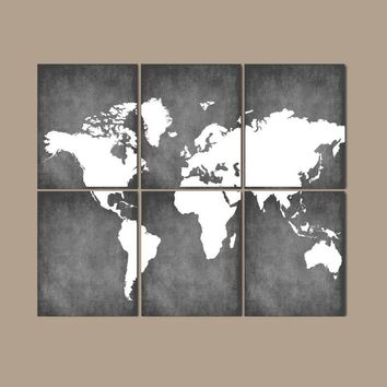 WORLD MAP Wall Art, CANVAS or Prints Bedroom Pictures, Grunge Effect, Custom Colors, Desk Office Decor, Library Room, Set of 6, Home Decor