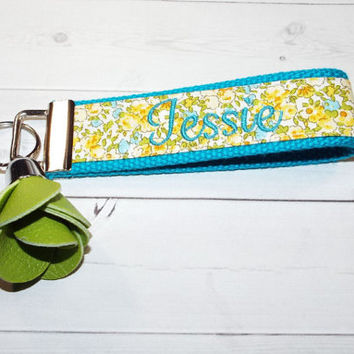 tiny Floral Monogrammed Keychain flowers with rose tassel - Personalized Custom Embroidered Initial, 3 Letter or Name Key fob