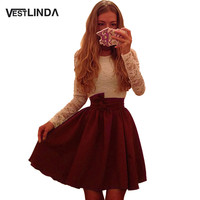VESTLINDA New Autumn Dress Ukraine Style Women Lace Party Dresses A-Line Vestidos O Neck Long Sleeve Mini Sexy Dress Plus Size