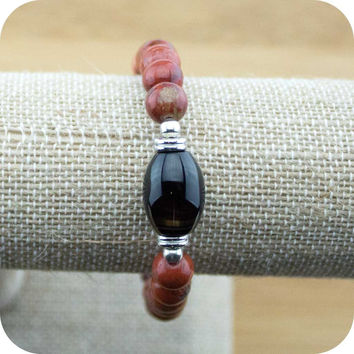 Red Jasper Yoga Jewelry Bracelet with Black Sardonyx Agate