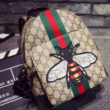 Unisex Casual Fashion Classic Print Multicolor Stripe Bee Embroidery Backpack Large Capacity Travel Double Shoulder Bag