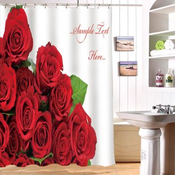 Senisaihon 3D Shower Curtains Red Roses Pattern Waterproof Fabric Bathroom Curtains Washable Bath Curtain Bathroom Products
