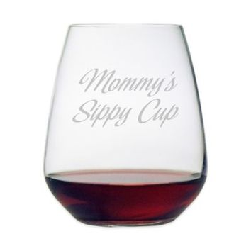 "Etched Novelty Barware ""Mommy's Sippy Cup"" Stemless Wine Glass"