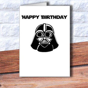 Darth Vader Happy Birthday Card Funny Birthday Card Instant Download Star Wars printable card Star Wars inspired card Darth Vader DIY card