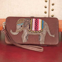 Studded Flat Faux Leather Elephant Wallet. Brown.