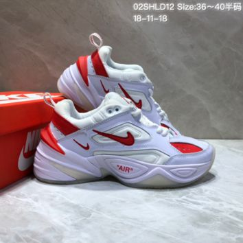DCCK N663 Nike Air Monarch the M2K Tekno Sneaker Casual Running Shoes White Red