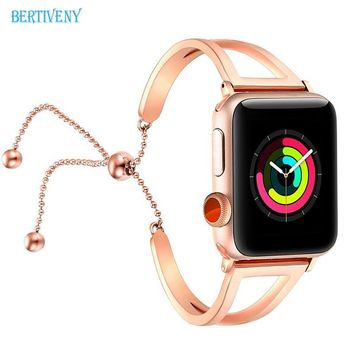 Women Watch Bracelet for Apple Watch Bands 38mm/42mm Adjustable Stainless Steel Strap with Pendant for iwatch series 4 3 2 1