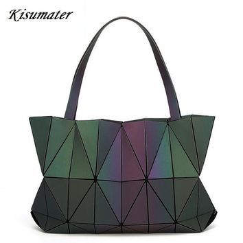 2017 New Diamond Women Geometry Totes Sequins Mirror Saser Plain Folding Bags Luminous bag baobao bag Free Shipping hologram