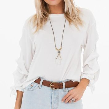 White Crow Ruched Sleeve Top