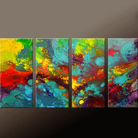 4pc ABSTRACT Canvas Art Painting Huge 72x36 Original Modern Contemporary Fine Art Painting by Destiny Womack - dWo -  In a River of Dreams