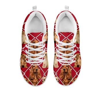 Amazing Cocker Spaniel Dog, Red Boxes Print Running Shoes For Women-Free Shipping-For 24-Hours Only