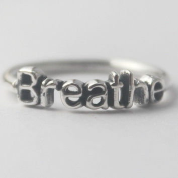 Sterling Silver Breathe Stacking word Ring, 925, with Inspirational word jewelery, Inspiration and Goals ring, Yoga Zen meditation ring