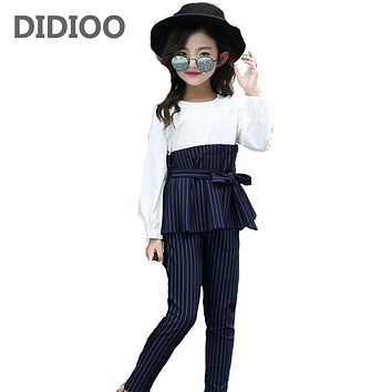 Kids Stripe Outfits for Teenage Girls Long Sleeve Clothes Sets Girls School Shirts & Pants Suits  Children Clothing Sets