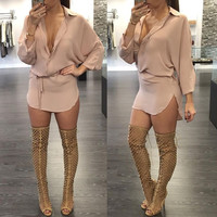 Long Sleeve Button Front Elastic Waist Tie Curve Hem Mini Dress
