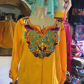 Amazing Mexican Embroidered Peacock Blouse Yellow