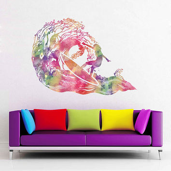 cik1873 Full Color Wall decal Watercolor Sea surf surfer wave hawaii living room bedroom